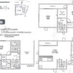 土地面積/実測82.87㎡(25.06坪)、建物面積/113.44㎡(34.31坪車庫面積含)(間取)