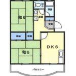 202号室間取り図 2DK(間取)