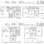 【1号棟】土地面積166.65㎡、建物面積97.20㎡ 3680万円 【2号棟】土地面積167.73㎡、建物面積98.82㎡ 3580万円(間取)